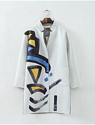 Для женщин Повседневные Одежда для отдыха на природе Одежда для спорта и отдыха Все сезоны Пальто V-образный вырез,Плащи Простой