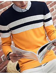 Standard Pullover Da uomo-Quotidiano Casual Monocolore Rotonda Manica lunga Cotone Maglia Primavera Autunno Medio spessoreMedia