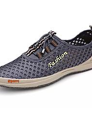 Hombre Zapatos de taco bajo y Slip-Ons Confort Tul Primavera Otoño Deportivo Confort Con Cordón Tacón Plano Azul Oscuro Gris Marrón Claro