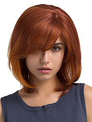 Vente chaude ombre couleur oblique bangs bob hairstyle cheveux humains perruques
