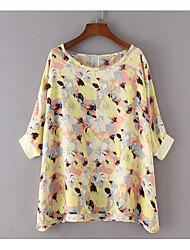 Damen Blumen Einfach Lässig/Alltäglich T-shirt,Rundhalsausschnitt 3/4 Ärmel Polyester