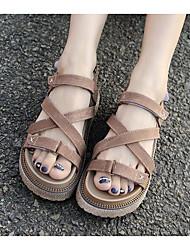 Women's Sandals Comfort Denim Spring Casual Comfort Khaki Almond Flat