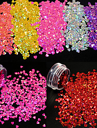10Bottles/Set Hot Fashion Nail Art Colorful Glitter Starry Sequins Sweet Style Lovely Heart Shape Creative Shining Paillette DIY Charm Decoration