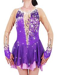 Robe de Patinage Femme Fille Manches Longues Patinage Jupes & Robes Robes Haute élasticité Robe de patinage artistique Garder au chaud