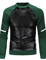 Men's Plus Size Sports Plus Size Going out Casual/Daily Simple Street chic Punk & Gothic Sweatshirt Solid Color Block Patchwork Round Neck