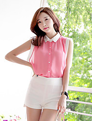 Women's Daily Casual Simple Blouse,Solid Shirt Collar Sleeveless Polyester