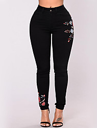 Women's High Waist strenchy Jeans Pants,Street chic Skinny Denim Embroidery