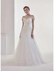 A-line Wedding Dress - Classic & Timeless Glamorous & Dramatic See-Through Open Back  Court Train Jewel Lace Tulle  belt with bow