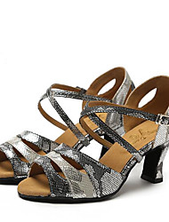 Damen Tanz-Turnschuh Echtes Leder PU Sandalen Sneakers Innen Blockabsatz Grau 5 - 6,8 cm