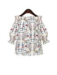 Tee-shirt Femme,Fleur Imprimé Décontracté / Quotidien simple Manches 3/4 Epaules Dénudées Coton