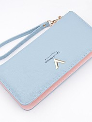 Women Checkbook Wallet PU Polyester All Seasons Event/Party Shopping Casual Rectangle Zipper Black Aquamarine Silver Gray Blushing Pink