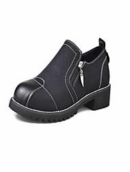 Women's Heels Formal Shoes PU Fall Casual Party & Evening Dress Walking Formal Shoes Zipper Chunky Heel Green Gray Black 1in-1 3/4in