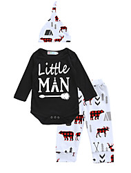 Little Man Baby Kids' New Baby Cotton Indoor Outdoor Birthday Casual/Daily Baby Shower Festival Animal Print Clothing Set Spring/Fall Winter Suits