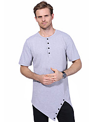Men's Fashion Personality Hem Design Hip-Hop Short Sleeved T-Shirt Cotton Spandex Medium/Plus Size Casual/Daily Simple