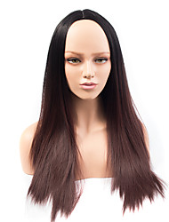 Fashion Long Brown Ombre Color Straight Wig African American Heat Resistant Synthetic Wig