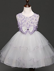 Ball Gown Knee Length Flower Girl Dress - Organza Sleeveless Jewel Neck with Applique by YDN