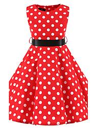 Girl's Red White Polka Dot Vintage Inspired Sleeveless 50s Rockabilly Swing Dress Cotton All Seasons