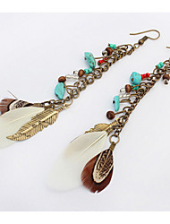 Drop Earrings Women's Euramerican Personalized Imitation stone Feather Tassel 6 Colors Daily Party Gift Movie Jewelry