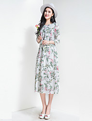 BORME Women's Party Going out Casual/Daily Vintage Boho Chiffon Swing DressFloral Round Neck Midi 3/4 Length Sleeve Polyester ChiffonSpring