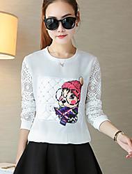 Damen Zeichen Einfach Normal T-shirt,Rundhalsausschnitt Langarm Baumwolle