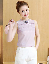 Women's Daily Casual Simple Blouse,Solid Round Neck Sleeveless Polyester