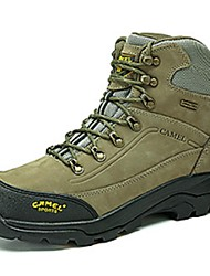 Camel Men's Outdoor Climbing Shoes Cow Leather Waterproof Hiking Shoes Color Army Green/Dark Grey/Khaki