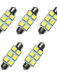 5PCS Double Pointed LED Lights 41MM 1W 6SMD 5050 Chip White 80-100LM 6500-7000K DC12V Reading Light License Plate Lights