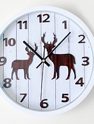 Country Fairytale Theme Wall ClockRound Novelty Acetate/Plastic Indoor Clock Elk
