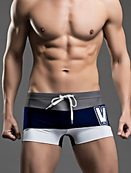 Hot! Fashion Design  6 Colors Men's One-piece Lace Up Color Block Sport Mesh Solid  Beachwear Swimwear