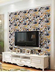 Art Deco 3D Stone Wallpaper For Home Modern Wall Covering , PVC/Vinyl Material Self adhesive Wallpaper , Room Wallcovering