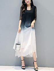 Для женщин На выход На каждый день Простое Шинуазери (китайский стиль) Свободный силуэт Шифон Из двух частей Платье Контрастных цветов,