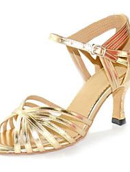 Damen Latin Leder Sandalen Sneakers Professionell Verschlussschnalle Stöckelabsatz Gold Maßfertigung