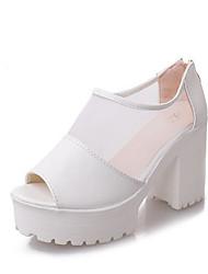 Mujer Sandalias Confort PU Verano Casual Blanco Negro 5 - 7 cms