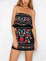 Для женщин Уличный стиль На выход На каждый день Комбинезоны,Со стандартной талией Свободный силуэт Цветочный Вышивка С принтом Жаккард