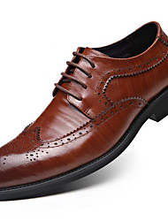 Men's Shoes Leather Fall Winter Formal Shoes Oxfords For Dress Party & Evening Black Light Brown