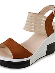 Damen Sandalen Pumps Wildleder Stoff Sommer Normal Kleid Walking Pumps Schnalle Keilabsatz Schwarz Dunkelbraun Khaki 12 cm & mehr