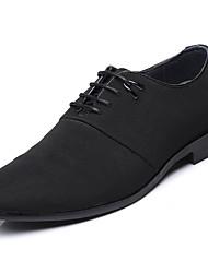 Hombre Zapatos Cuero Primavera Otoño Confort Gladiador Suelas con luz Oxfords Con Cordón Para Casual Fiesta y Noche Negro