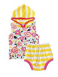 Baby Girls Outdoor Casual/Daily Floral Clothing Set Summer Striped Hooded Vest Shorts 2pcs Outfits for Kids Girls Toddler