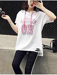 Women's Daily Simple Summer T-shirt,Print Letter Hooded Short Sleeve Cotton Others