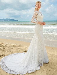 Mermaid / Trumpet Plunging Neckline Sweep / Brush Train Lace Wedding Dress with Lace Ruche by LAN TING BRIDE®