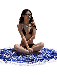 Fengtu® 150cm Tassel Oversized Round Beach Cushion Women's Yoga Mat Bikini Outside Wrapped Towel Shawl Seaside Beach Camping Mat