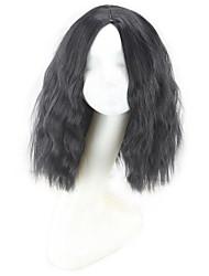 Mujer Pelucas sintéticas Sin Tapa Medio Ondulado Afro Negro Peluca natural Las pelucas del traje