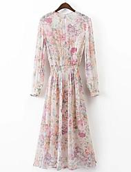 Damen Tunika Chiffon Kleid-Lässig/Alltäglich Solide Blumen Druck Rundhalsausschnitt Midi Langarm Baumwolle Andere Sommer Mittlere Hüfthöhe