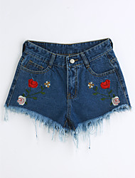Women's Mid Rise Micro-elastic Jeans Shorts Pants,Cute Simple Slim Solid Embroidery