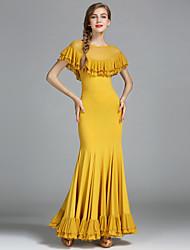 Danse de Salon Femme Spectacle Tulle Soie Glacée Ruchés plongeants Au drapée 1Pièce / Set Taille moyenne Robe