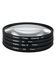Andoer 77mm UV CPL Close-Up4 Star 8-Point Filter Circular Filter Kit Circular Polarizer Filter Macro Close-Up Star 8-Point Filter with Bag for Nikon