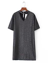 Ample Courte Tee Shirt Robe Femme Sortie Décontracté / Quotidien simple Chic de Rue,Couleur Pleine Col en V Au dessus du genouManches