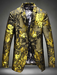 Men's Party Party/Evening Casual Glitters Coats/Jackets Cool Fall Winter Jacket,Floral Notch Lapel Long Sleeve Regular Rayon Sequins