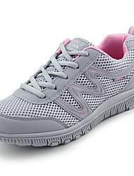 Femme Chaussures d'Athlétisme Confort Tulle Printemps Automne Décontracté Marche Confort Lacet Talon Plat Noir Gris foncé Gris clair5 à 7