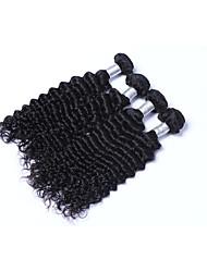 Medium Size 4 Bundles 400g Brazilian Virgin Remy Human Hair Wefts 100% Unprocessed Deep Wave Human Hair Weaves Natural Black Human Hair Extensions